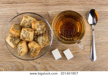Tea, Cookies With Sunflower Seeds In Saucer, Lumpy Sugar