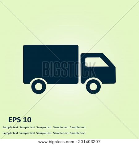 Delivery truck sign icon. Cargo van symbol. Shipments and free delivery. Flat style. Vector.