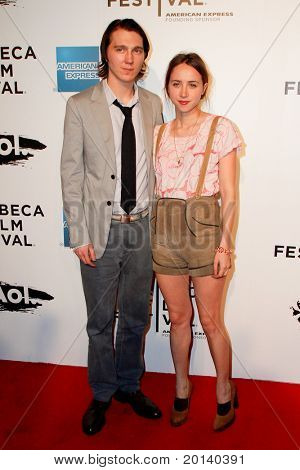 "NEW YORK - APRIL 20: Paul Dano and Zoe Kazan attend the opening night premiere of ""The Union"" at 2011 TriBeCa Film Festival at World Financial Center Plaza on  April 20, 2011 in New York City."