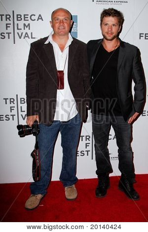 """NEW YORK - APRIL 21: Greg Marinovich and Ryan Phillippe (r) attend the 2011 TriBeCa Film Festival premiere of """"The Bang Bang Club"""" at the BMCC TriBeCa PAC on April 21, 2011 in New York City."""