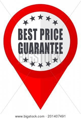 Best price guarantee red web pointer icon. Webdesign button on white background.