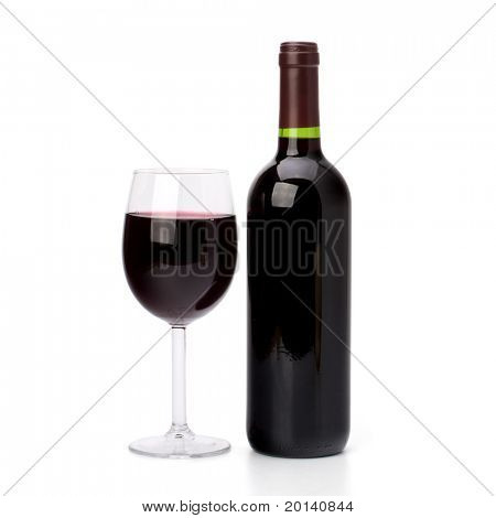 Full red wine glass goblet and bottle isolated on white background