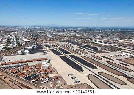 Aerial view of airport and the city of Phoenix Arizona in the background