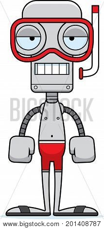 Cartoon Bored Snorkeler Robot