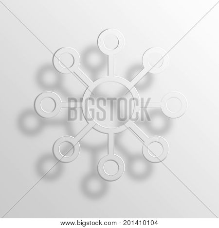 Network 3D Rendering Paper Icon Symbol Business Concept