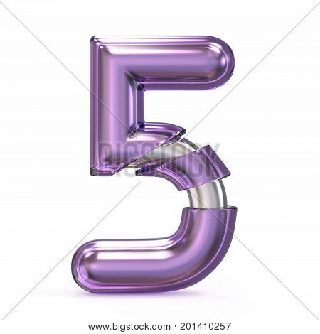 Purple Gem With Metal Core Font Number 5 Five 3D