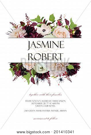 Wedding Invitation invite card Design: Rose Anemone Dahlia flower thistle herb plant leaf bouquet frame border crown. Vector anniversary floral garden of elegant red burgundy pink peach purple flowers