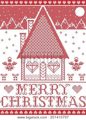 Nordic style and inspired by Scandinavian  Christmas pattern illustration in cross stitch in red and white including  gingerbread house, star, snowflake, heart, mountain, angel, Christmas presents