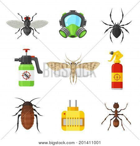 Pest control set. Home and office protection service, effective chemical tools for hygienic environment, pest-free house. Vector flat style cartoon illustration, isolated on white background
