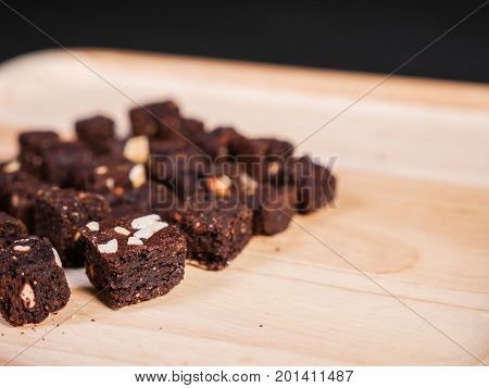 Crispy Crunchy skinny Chocolate almond brownies. snack dessert.