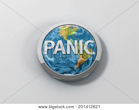 A reflective Earth like panic button with a chrome ring on a white background. 3D illustration. San Serif panic text.