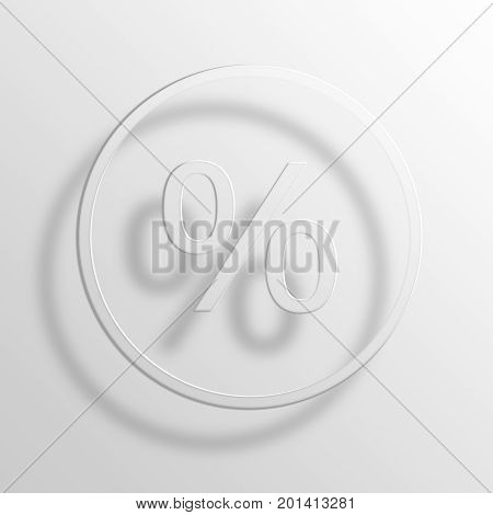 Percent 3D Rendering Paper Icon Symbol Business Concept