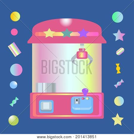 toy claw machine with sweets and candy balls isolated on dark blue background. claw crane game.retro 90s style.vector