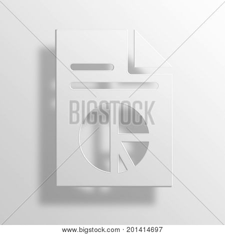 Pie Chart 3D Rendering Paper Icon Symbol Business Concept