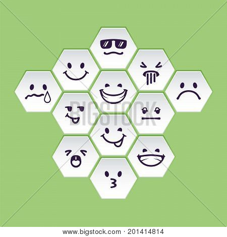 Vector set of white hex head with emotion signs. Geometru shapes with drawn faces