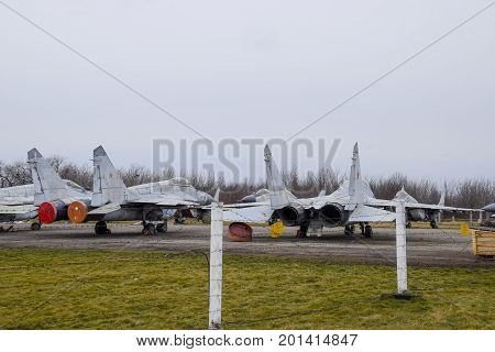 Military Aircraft Fighters At The Airport. Old Decommissioned Aircraft. Krasnodar Airfield.