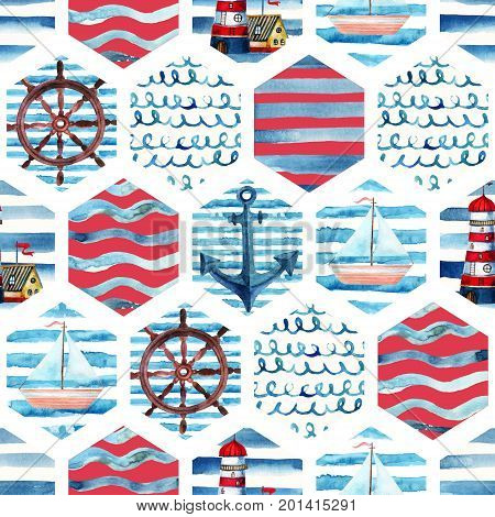Watercolor adventure seamless pattern in patchwork marine style. Summer voyage background with lighthouse yacht abstract sea waves. Water color navy mosaic illustration
