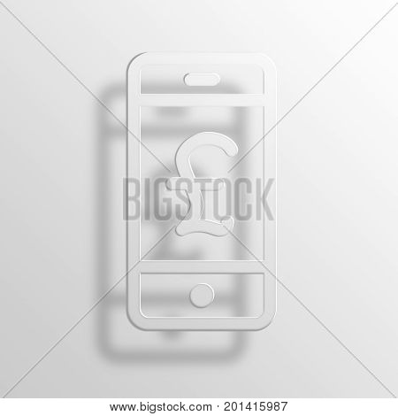 Pound Phone 3D Rendering Paper Icon Symbol Business Concept