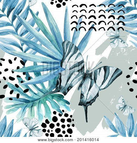 Watercolor graphical illustration: exotic butterfly tropical leaves doodle elements on grunge background. Abstract palm monstera leaf seamless pattern. Hand painted design