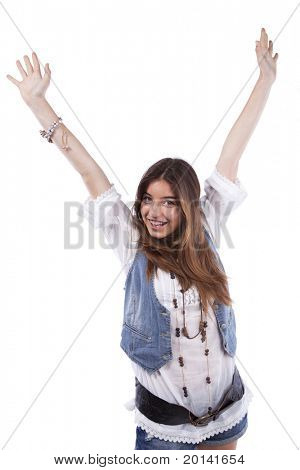 Happy beautiful teenager woman with her arms up (isolated on white)