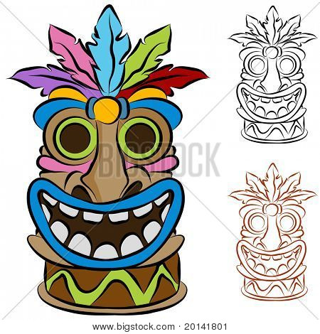 An image of a wooden tribal tiki idol.