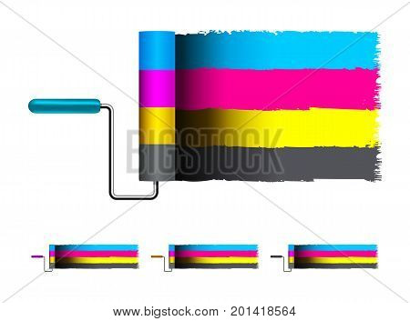 CMYK concept vector illustration with brushes on white background