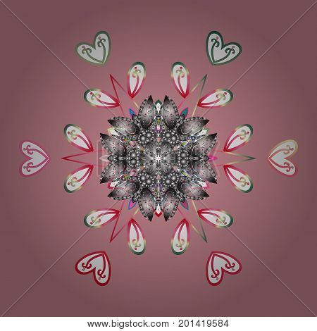 Flat design with abstract snowflakes isolated on colors background. Vector illustration. Snowflakes pattern. Vector snowflakes background. Snowflake colorful pattern.