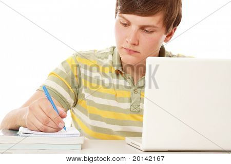 A young guy studying