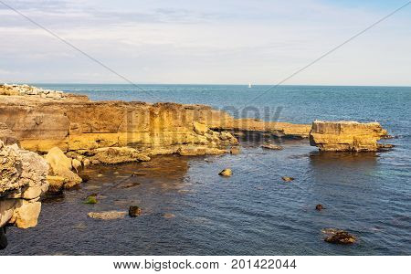 Sandstone rock formation on the Dorset Coast at Portland