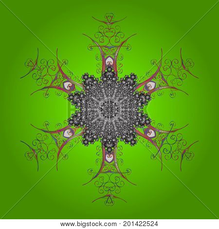 Snowflake ornamental pattern. Vector illustration. Snowflakes background. Snowflakes pattern. Flat design of snowflakes isolated on colorful background.