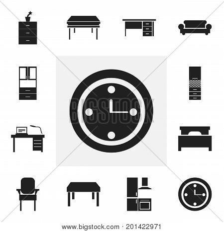 Set Of 12 Editable Furniture Icons. Includes Symbols Such As Watch, Trestle, Plant Pot And More