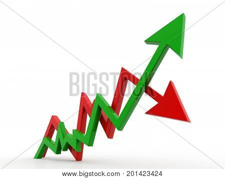 3d rendering inflation and deflation graph in white background