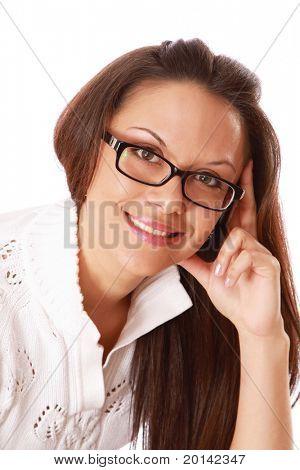 Portrait of a pretty woman wearing glasses