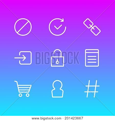 Editable Pack Of Url, Sign In, Padlock And Other Elements.  Vector Illustration Of 9 App Icons.