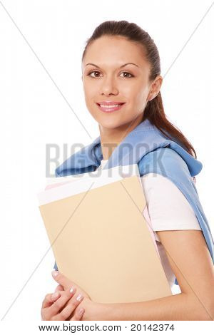 A young woman holding papers