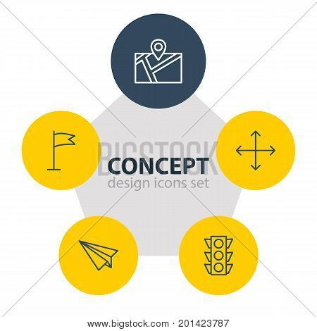 Editable Pack Of Pennant, Navigation, Pin And Other Elements.  Vector Illustration Of 5 Navigation Icons.