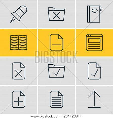 Editable Pack Of Blank, Done, Approve And Other Elements.  Vector Illustration Of 12 Office Icons.