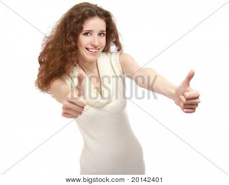 Portrait of a young beautiful woman showing ok