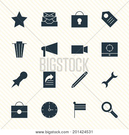 Editable Pack Of Target Scope, Magnifier, Messages And Other Elements.  Vector Illustration Of 16 Internet Icons.