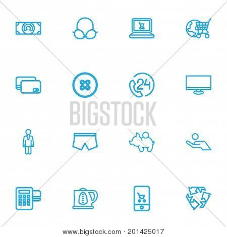 Set Of 16 Editable Business Outline Icons. Includes Symbols Such As Profit, Online Shopping, Button And More