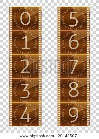 Film strips. Final countdown. Real color vector illustration. Transparent background.