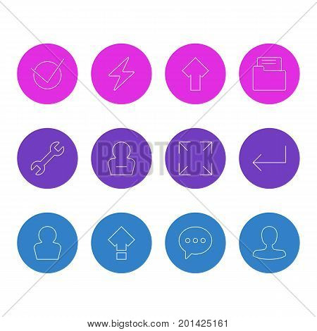Editable Pack Of Upward, Wrench, Displacement And Other Elements.  Vector Illustration Of 12 User Icons.