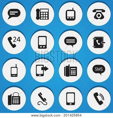 Set Of 16 Editable Device Icons. Includes Symbols Such As Forum, Message, Transceiver And More