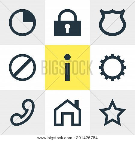 Editable Pack Of Asterisk, Stopwatch, Mainpage And Other Elements.  Vector Illustration Of 9 User Icons.