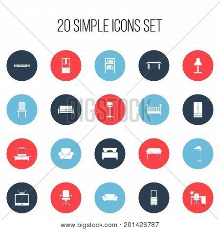 Set Of 20 Editable Furniture Icons. Includes Symbols Such As Enlightenment, Bed, Trestle And More