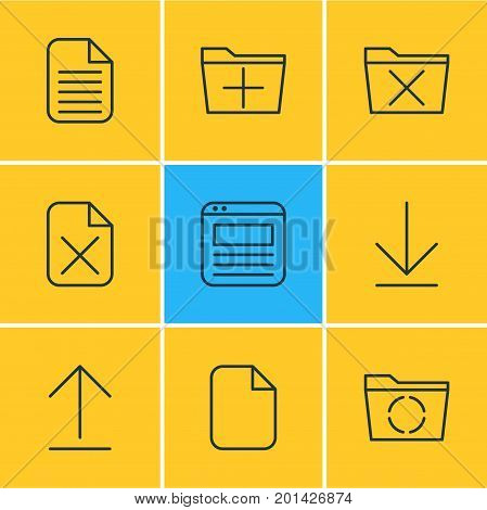 Editable Pack Of Add, Document, Delete And Other Elements.  Vector Illustration Of 9 Office Icons.