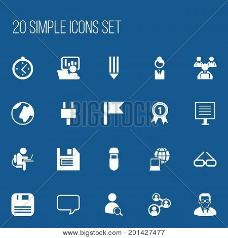Set Of 20 Editable Bureau Icons. Includes Symbols Such As World, Pencil, Usb And More