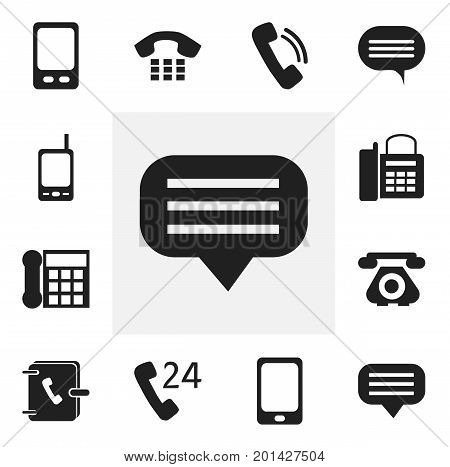 Set Of 12 Editable Phone Icons. Includes Symbols Such As Smartphone, Telecommunication, 24 Hour Servicing And More