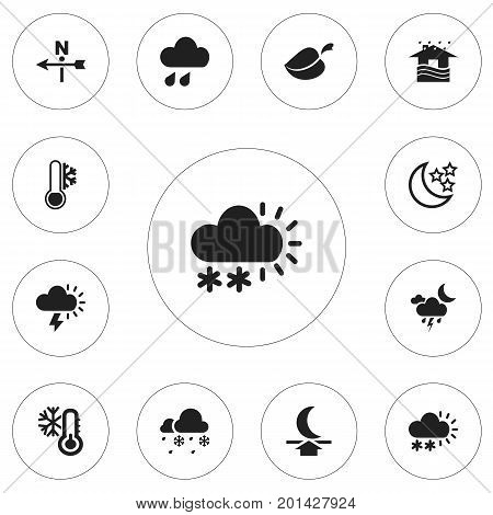 Set Of 12 Editable Climate Icons. Includes Symbols Such As Rainstorm, Home, Snow Granule And More