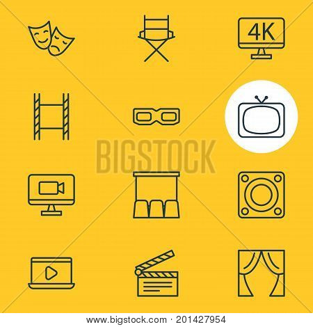 Editable Pack Of Loudspeaker, Shooting Seat, Filmstrip And Other Elements.  Vector Illustration Of 12 Cinema Icons.